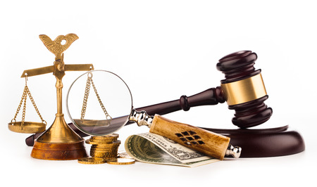 gavel money and scales of justice Stock Photo