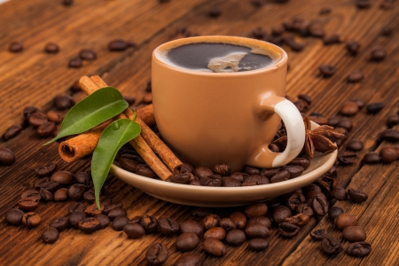 cin: cup of coffee and beans