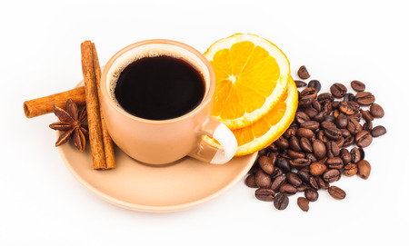 cin: cup of coffee and coffee beans Stock Photo