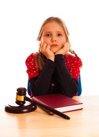 pretty little girl: Pretty  little girl and law gavel