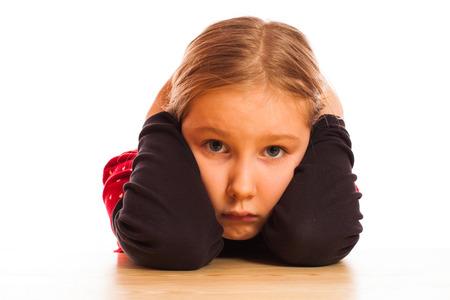pretty little girl: sad Pretty  little girl isolated on white