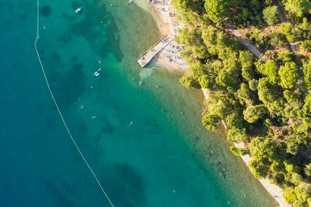 Veduta aerea della linea di costa croazia isola di Rab Archivio Fotografico - 32307181