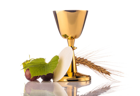 preach: holy communion chalice isolated on white Stock Photo
