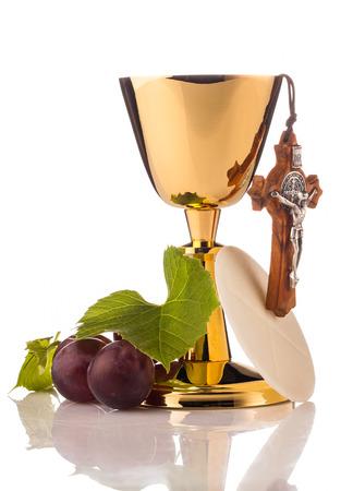 chaplain: holy communion chalice isolated on white Stock Photo