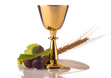 holy communion chalice isolated on white Stock Photo