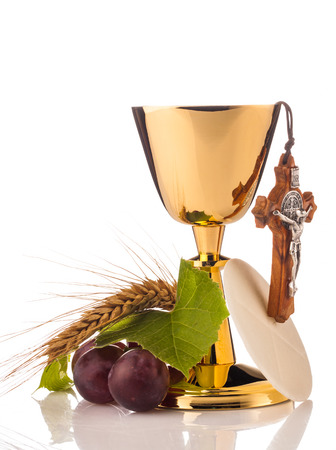 holy communion chalice isolated on white Archivio Fotografico