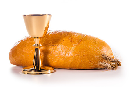 holy eucharist: holy communion chalice isolated on white Stock Photo