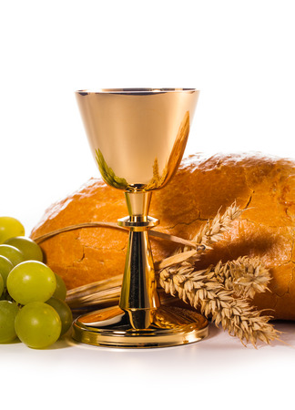 holy communion chalice isolated on white Standard-Bild