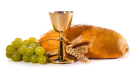 holy communion chalice isolated on white photo