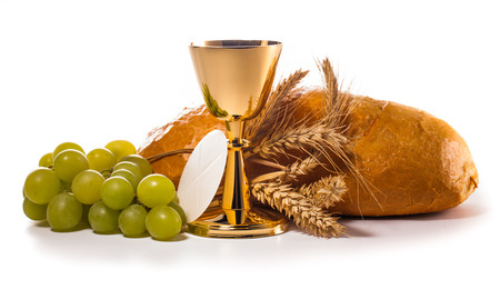 holy communion chalice isolated on white 스톡 콘텐츠