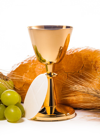 theology: holy communion chalice isolated on white Stock Photo