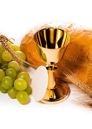 worship service: holy communion chalice isolated on white Stock Photo