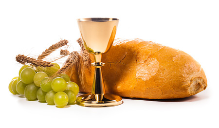 holy communion chalice isolated on white photo