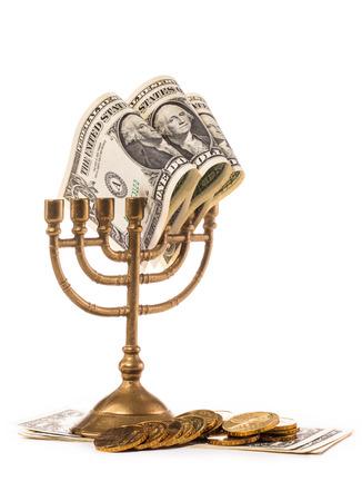 hanukka: jewish menorah and dollar money