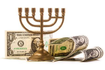 hanoukia: menorah juive et l'argent du dollar
