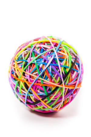 colorful wonder loom band rubber ball isolated on white photo