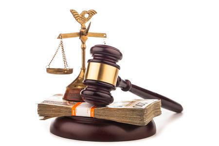 judge gavel ,scales and money Stock Photo