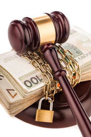 home safety: judge gavel and money  isolated on white