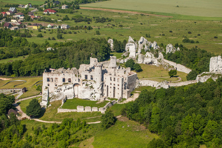 POLAND, OGRODZIENIEC CASTLE - JUNE 07, 2014: Aerial view of ogrodzieniec castle in Poland