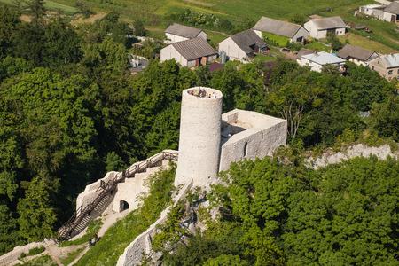 POLAND, PILICA CASTLE - JUNE 07, 2014: Aerial view of Pilica castle near Ogrodzieniec in Poland
