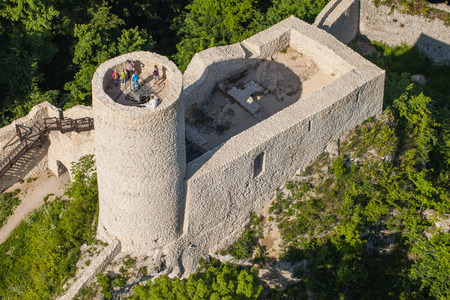 ogrodzieniec: POLAND, PILICA CASTLE - JUNE 07, 2014: Aerial view of Pilica castle near Ogrodzieniec in Poland