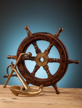 maritime: maritime adventure marine gadgets on wooden table Stock Photo