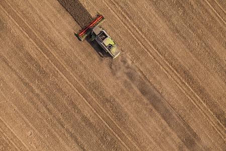 cenital: vista aérea de combinar en campo de cosecha en Polonia
