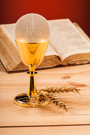 chaplain: Christian holy communion composition on wooden table Stock Photo