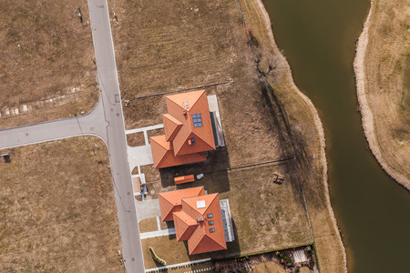 country house: Aerial view over golf field in Poland