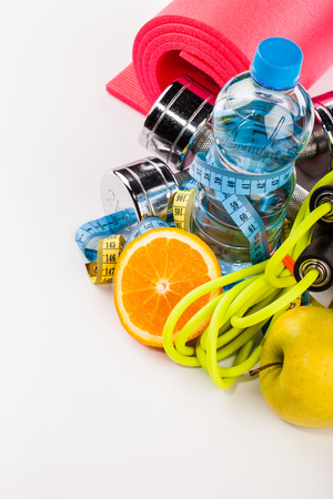 Fitness water and sport equipment composition Stock Photo