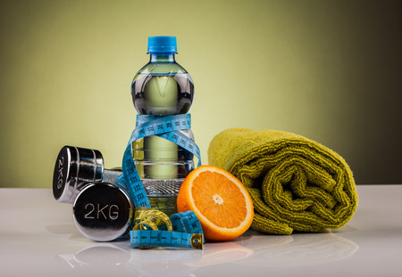 water and  fitness equipment  composition Foto de archivo