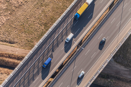 aerial: aerial view of highway in Poland Stock Photo