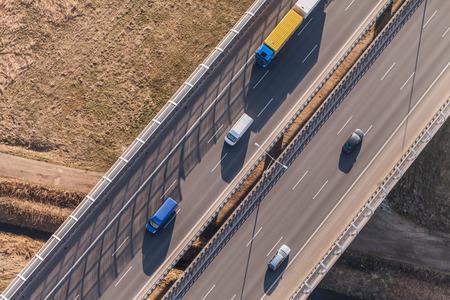 Luchtfoto van de snelweg in Polen Stockfoto