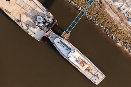 barge: aerial view of a  river barge in Poland