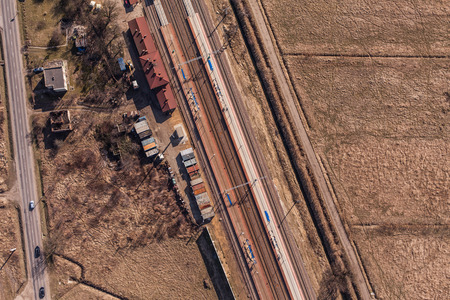 boxcar train: aerial view of railway station in Poland
