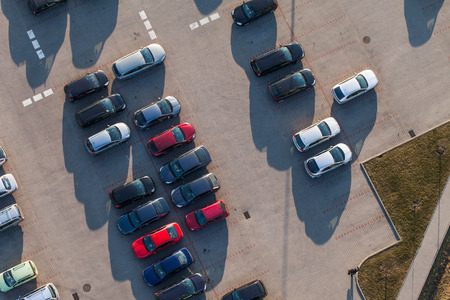carpark: aerial view of car park in wroclaw Poland