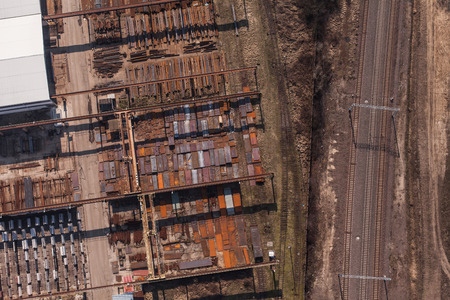 boxcar train: aerial view of railway and steel magazine in Poland