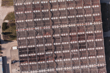 boxcar train: aerial view of the factory roof top in Poland