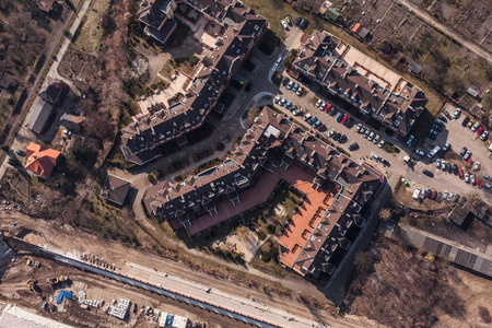 elevated view: aerial view of city center in Wroclaw in Poland