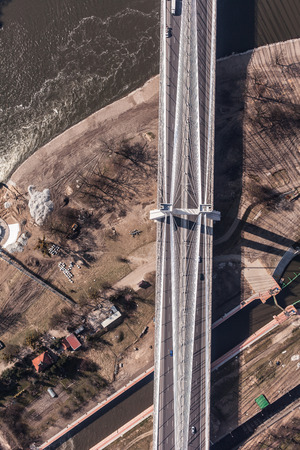 elevated view: aerial view of bridge Wroclaw city in Poland