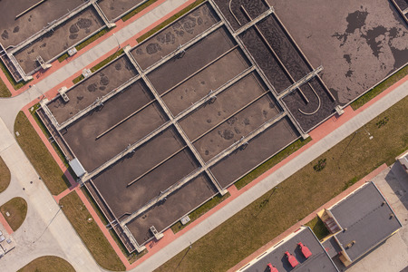 aerial view of sewage treatment plant in wroclaw city in Poland photo