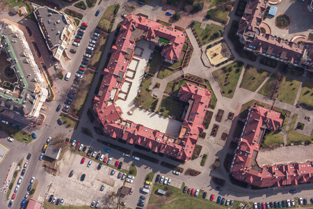bird s eye view: aerial view of a Wroclaw city in Poland Stock Photo