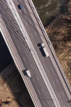 birds eye view: aerial view of highway in Poland Stock Photo