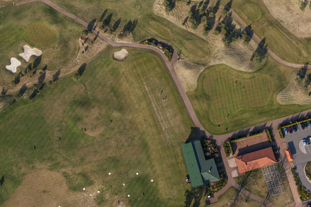 elevated view: Aerial view over golf field in Poland