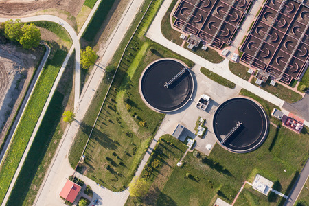 sewage treatment plant: aerial view of sewage treatment plant in wroclaw city in Poland