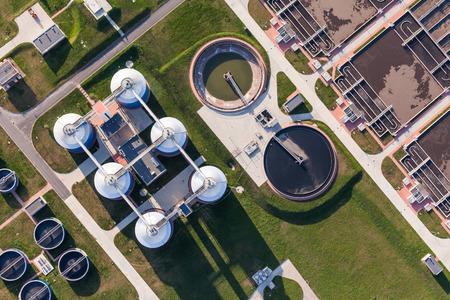 Veduta aerea di impianto di trattamento delle acque reflue in Wroclaw in Polonia Archivio Fotografico - 39756673