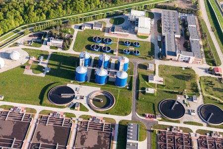 water treatment: aerial view of sewage treatment plant in wroclaw city in Poland