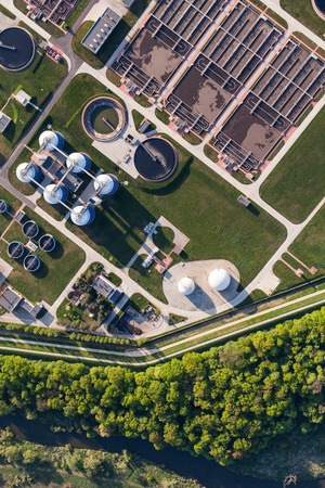 recycle waste: aerial view of sewage treatment plant in wroclaw city in Poland