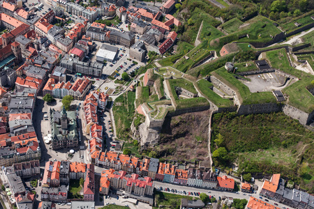 aerial view of  the Klodzko city historic fortress  in Poland photo