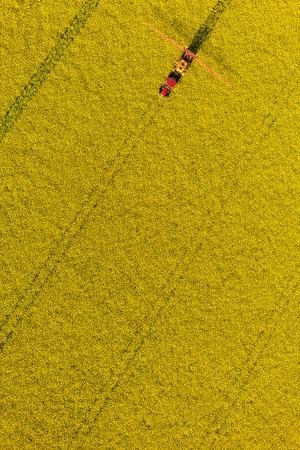 Veduta aerea di campi raccolto con il trattore in Polonia Archivio Fotografico - 39966700